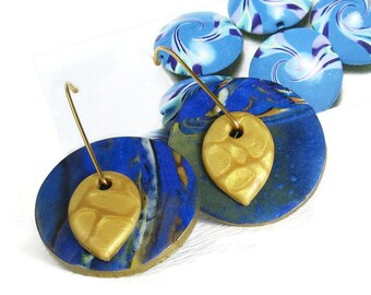 Swingy Blue Pearl Polymer Clay Pierced Earrings Modern Art Jewelry Handmade Goldplated Wires Mica Shift Technique Blue Gold