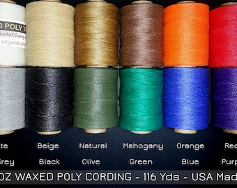 Waxed Poly Thread - 2 oz Spool, Ideal for Pine Needle Baskets, Gourd Art, Leather Craft, Jewelry,  Beading, Dreamweavers, Choose Color