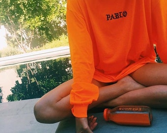 PABLO Orange Long Sleeve T-Shirt , Premium Quality ! - Made in London / Fast Delivery to the Usa , Canada , Australia & Europe !