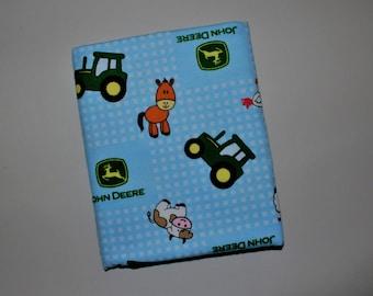 John Deere Farm Animals and Tractors Flannel Receiving Blanket, Blue, Tractors, Animals, Baby Blanket