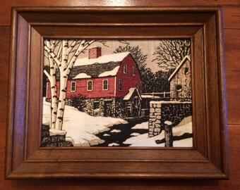 Vintage Framed Kay Dee Linen Red Mill Barn Snow Winter Scene