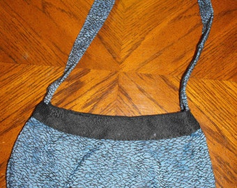 Lapis & Black Upholstery Fabric Large Buttercup Bag