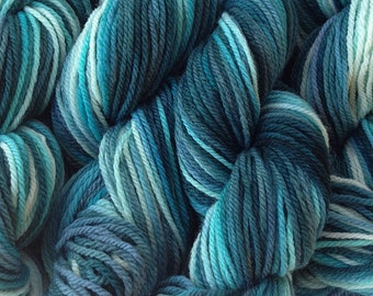 DK Sport Weight Hand Painted Merino Wool Yarn Beach Glass Hand Dyed Mint Green Blue Teal