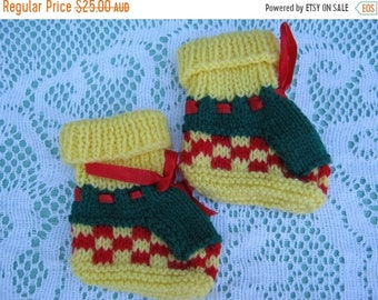 ON SALE Beautiful Yellow and Green and Red Christmas Socks Hand Knitted for a Baby Boy or Girl.