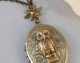 Owl's Compass,Locket,Owl,Brass Locket,Brass Necklace,Compass,Woodland,Antique Locket. Handmade jewelry by valleygirldesigns.