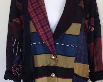 1980's jacket, oversized patchwork blazer jacket
