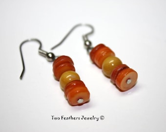 Shell Earrings - Orange And Yellow Shell Heishi Earrings - Beaded Earrings - Orange Earrings - Yellow Earrings - Two Feathers Jewelry