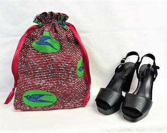 African Print Drawstring Multi-Purpose Travel/Undergarment/Accessory/ Shoe Bag
