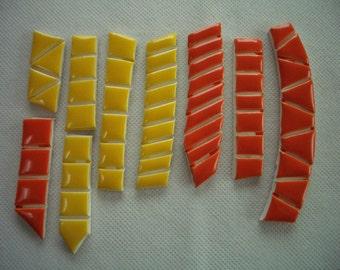 SR - ORANGE, YELLOW Tiny Tiles - Ceramic Mosaic Tiles