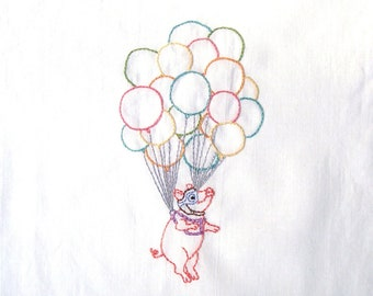 Flying Pig With Cluster Balloons Hand Embroidery Pattern PDF