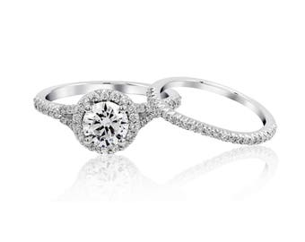 1 carat Brilliant Moissanite Engagement ring with natural diamonds in 18k white gold and matching wedding Band, Bridal Set