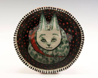 Cat With ESP - Original Painting by Jenny Mendes in a Hand Pinched Ceramic Finger Bowl