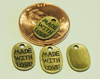 10 Pcs Antique Bronze Made With Love Charms, Lovely Charms, Pendants, Links, Jewelry Findings - 18x5MM - AB005