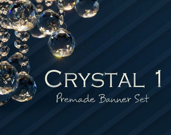 "Shop banner - Shop banner Set - Etsy shop banner set - Graphic banners - Banners - ""Crystal 1"""