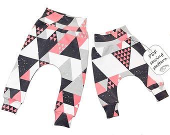 Baby harem pants Sewing Pattern PDF, baby sewing patterns size 1-24M, Instant Download Sewing Pattern