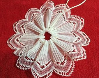 Lace Christmas Snowflake Ornament - Made from Ribbon Lace