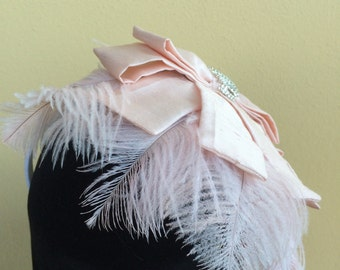 Feather and silk fascinator