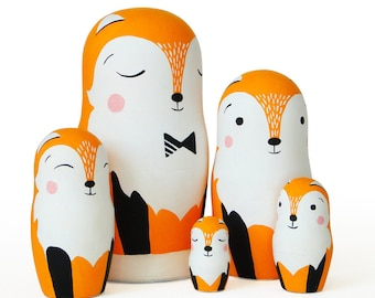 "Fox Family, Nesting Dolls, 6,2"", 5 pcs"