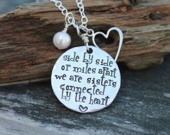 sisters necklace, hand stamped quote necklace