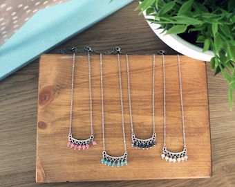 silver chic necklaces, colourful semiprecious stones, stainless steel chains, jade stones, summer style