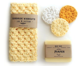 Mothers Day Gifts Set for Women Gifts for Her Birthday Gift Wife Gift for Mom Natural Soap Crochet Washcloth Face Scrubbies