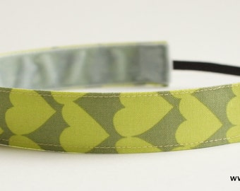 Multi Color Green Heart Pattern Fabric Headband, Non Slip Headband (Non Slip Velvet Lining)