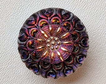 CZECH GLASS BUTTON: 27mm Nouveau Crown Handpainted Czech Glass Button, Pendant, Cabochon (1)