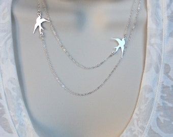 Silver or Gold Double Bird Sparrow Necklace, Double Layered Bird Necklace, Asymmetrical Necklace, Bird Nautical Jewelry, Sparrow Jewelry