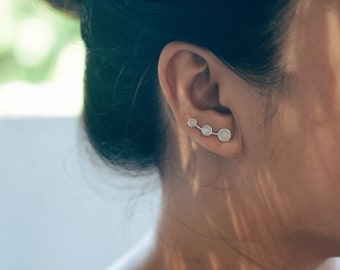 Moonstone Sterling Silver Ear Climbers