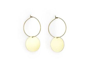 Brass hoop earrings with geometric pendant-Jo