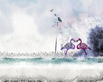 Love birds art, Drawing and illustration, Love couple, Flamingo art, Landscape print