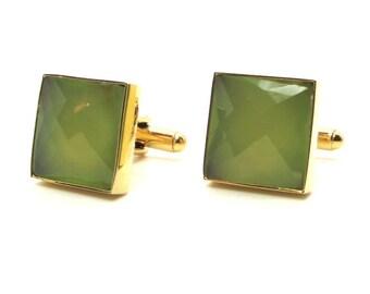 Sweet Mint Cufflinks – Prehnite Chalcedony Cufflinks – Soft Green Cufflinks – Green Cufflinks