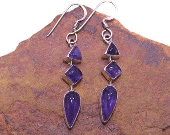 Amethyst Earrings, 925 Silver Earrings, Sterling Silver Earrings, Purple Stone Earrings, Geometric Earrings, Gemstone Earrings, Cabochon