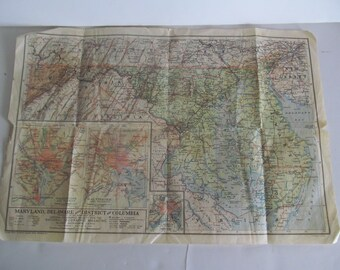 1925 State of Maryland Map Map of Maryland Paper Ephemera Maps National Geographic Maps Delaware District of Columbia Washington DC 1920s