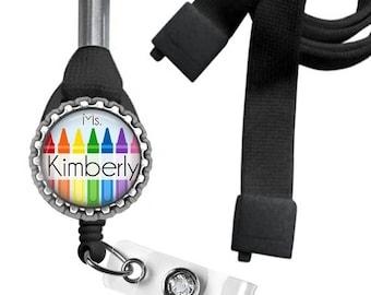 ON SALE - Badge Reel, Personalized, Lanyard, Breakaway ID Holder, Retractable Badge, Name Badge, Gifts for Teachers, Teacher Gift