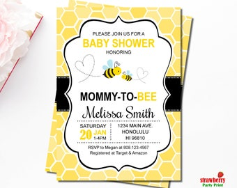 Bee baby shower etsy bumble bee baby shower invitations honey bee baby shower invitations mommy to bee filmwisefo Choice Image