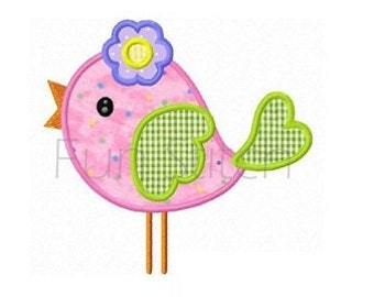 Flower bird applique machine embroidery design
