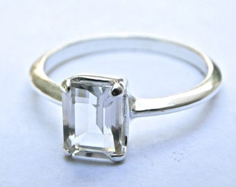 Faceted NY Herkimer Diamond Sterling Silver Ring - 6x8 mm Octagon Cut Solitaire Ring - Herkimer Diamond Jewelry