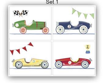 Race Car Art, Race Car Decor, Vintage Roadster Boy Art Prints, For Race Car Bedding Wall Decor, Unframed 8 x 10 Artwork, Can be Personalized