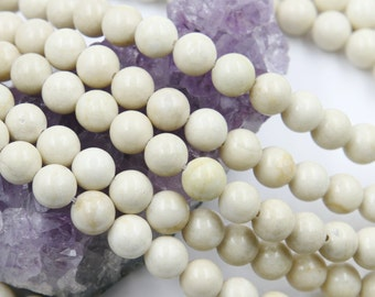 Lot of 5 strands 8mm Ivory White Fossil Jasper (N) Loose Spacer Beads Round 15.5 inch strand (BD5940)