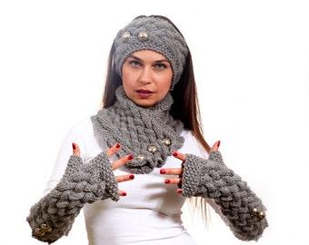 Massanfertigung - Schal, lange Handschuhe und ein Stirnband Hand stricken Set in grau von Solandia, Wintermode, kundenspezifische stricken