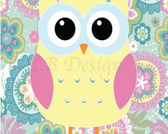 Girl Woodland Nursery Art, Girl Owl Nursery Decor, Girl Owl Bedroom Print, Floral Nursery Decor, Gift for New Baby - 8x10