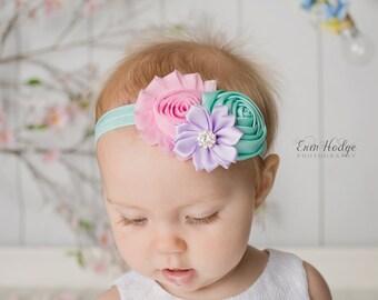 Easter headband, Baby Headband, aqua headband, light pink headband, toddler headband, lavender headband, Hair Bows, shabby chic