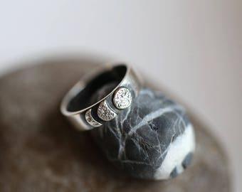 Moon Silver Ring, Oxidase Silver Ring, Handmade Silver Ring