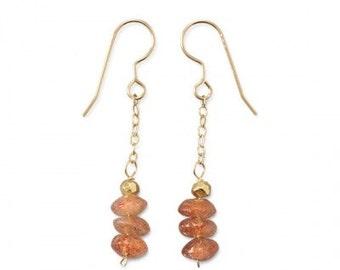 14/20 Gold Filled Pyrite Sunstone Dangle Drop Earrings