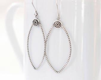 Petal Sterling Silver Earrings, Modern Hoop Earrings, Leaf shape dangle