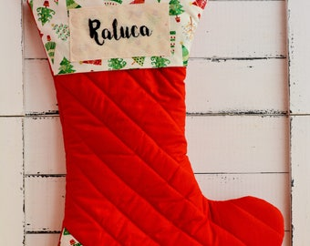 Christmas stocking, quilted stocking, personalized stocking, patchwork stockings, home decor, Christmas gift, primitive stocking, gift bags