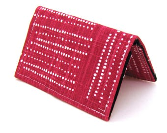 Mini Wallet / Card Holder / Business Card Holder / Card Case / Gift Card Holder/ Small Wallet - Grenadine Red Geometric Dots