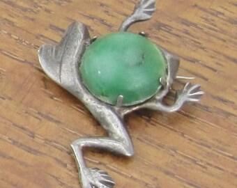Vintage Sterling Frog Aventurine green brooch pin hand made in Mexico silver jewelry