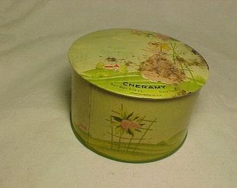 c1940s April Showers Cheramy New York Powder Tin, Vintage Perfume Tin, Womans Vanity Decor